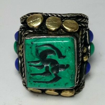 Rare Old Unique Ring Deer Turquoise & LapisStone Intaglio