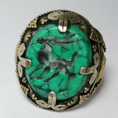 Rare Old Silver Unique Ring Deer Turquoise Stone Intaglio