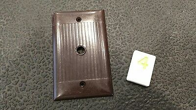 1 Brown Vtg Bakelite ? Ribbed Deco Single Gang Sierra TV Phone Plate Cover Y4
