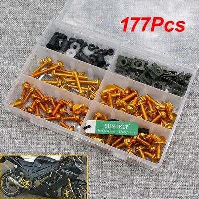 177Pcs Gold Fairing Bumpers Panel Bolts Kit Fastener Clips Screw for Motorcycle