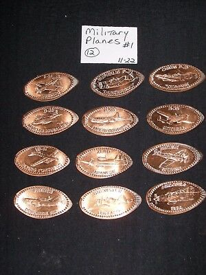 12 MILITARY PLANES THEMED Elongated Coin Rolled Pressed Smashed Pennies (1122-1)