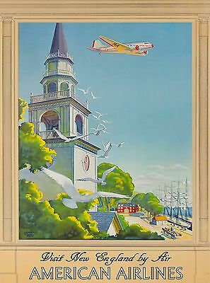 Visit New England by Air Vintage United States Travel Advertisement Poster Print