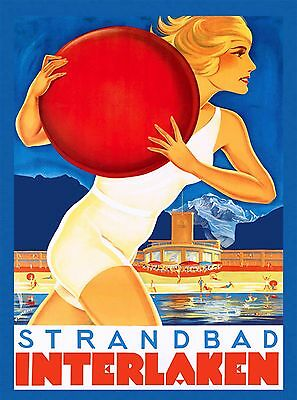 Swimming Pool Interlaken Switzerland Alps Vintage Travel Advertisement Poster