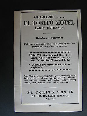 Bulmers El Torito Motel Lakes Entrance c1965