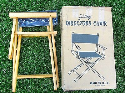 Vintage 1960's NEW Wood Folding DIRECTORS CHAIR Blue Canvas Made in USA NIB NOS