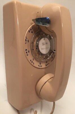 Vintage NJ Bell Western Electric Peach Rotary Dial Telephone Wall Mount 554/BMP