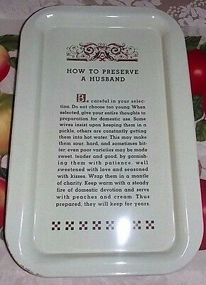 VTG BALL CANNING ADVERTISING TRAY-How To Preserve A Husband-Metal-HUMOROUS