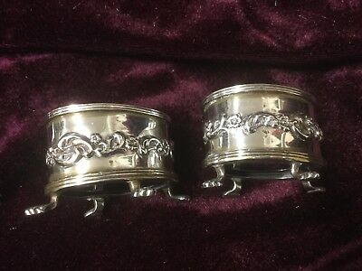 Antique pair silver Victorian glass lined salt dishes 1897 1898