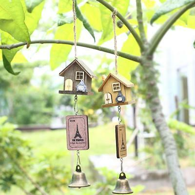 Japanese Totoro Wooden House Landscape Garden Outdoor Decor Wind Chime Bell