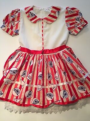 Vintage Girls Red Striped Circus Dress Bicycles Lace Trim Pearls size 28 Girls 8