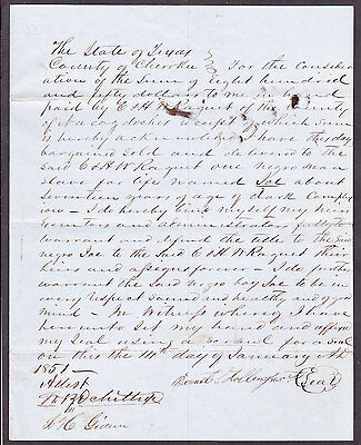 Slave Bill of Sale Texas Joe Cherokee Cty William Ochiltree 18th Tex CSA
