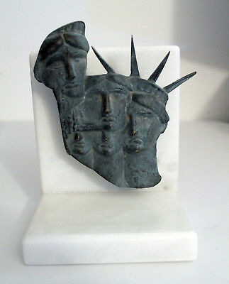 100% Solid Bronze Sculpture 5 Faces of Lady Liberty by Gabriel Grun Yantorno