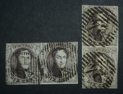 Belgium 1850 two pair of 10c used vertical and horizontal