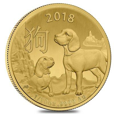 2018 1/10 oz Gold Lunar Year of the Dog Coin .9999 Fine BU Royal Australian Mint