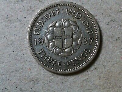 Great Britain threepence 3 pence 1937 George VI siver