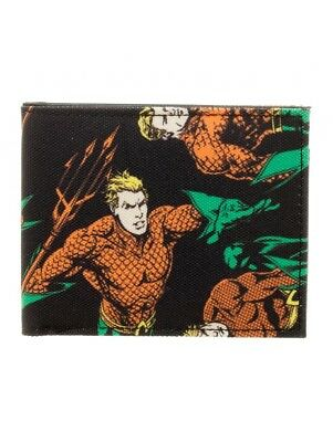 Justice League Classic Aquaman Bi-Fold Wallet Canvas Sublimated AOP Licensed