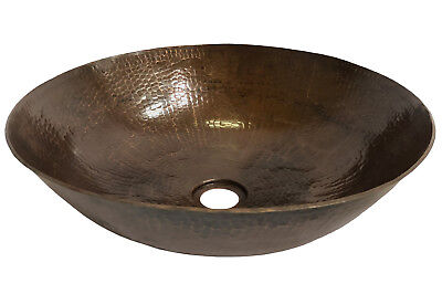 "Copper Sinks Hand Made 15"" Copper Shallow Vessel Sink"