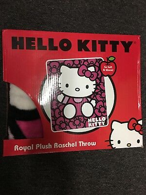 New In Package HELLO KITTY Sanrio Licensed ROYAL PLUSH Throw Blanket 40 X 50