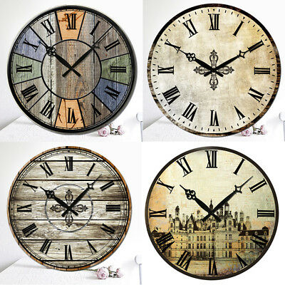 Antique Clock Wall Rustic Vintage Style Wooden Round Clocks Art Home Decor Bell
