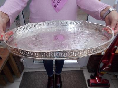 """Pretty Silver Plate Gallery Tray Lovely """"mint"""" Unused Condition Ball & Claw Feet"""