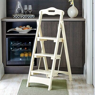 Groovy Wooden Folding Step Ladder Solid Wood Home Kitchen Portable Short Links Chair Design For Home Short Linksinfo