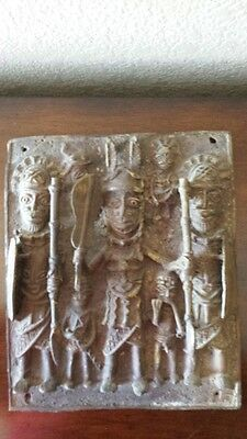 Edo Benin Bronze Sand Cast Plaque King with Warriors Nigeria Africa