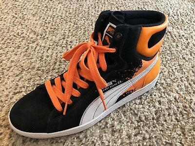 43439bc4b3f0 Puma First Round Ex High Skate Sneaker Multi Black Orange Athletic Men 12  Hip Wh