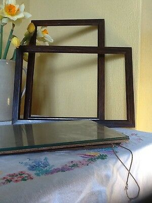 Elegant Pair of Antique Solid Oak Picture Frames with glazing  #3473