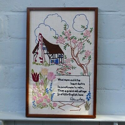 Vintage Hand Embroidered  English Cottage Garden Picture Framed Patience Strong