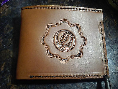 "*Handmade Grateful Dead ""Steal Your Face"" Bi-Fold Leather Wallet Brown"