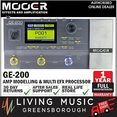 NEW Mooer GE200 Digital Amp Modelling & Multi Effects Guitar FX Pedal Looper