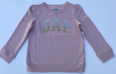 NEW BABY GAP Kids Girl Pink LOGO Sparkle Sweatshirt Sweater w Pleat Detail 5T  5