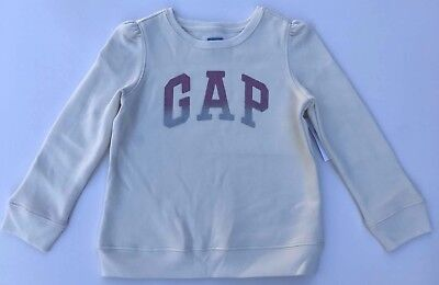 NEW BABY GAP KIDS Girl Ivory LOGO SParkle Sweatshirt Sweater w Pleat Detail 5T 5