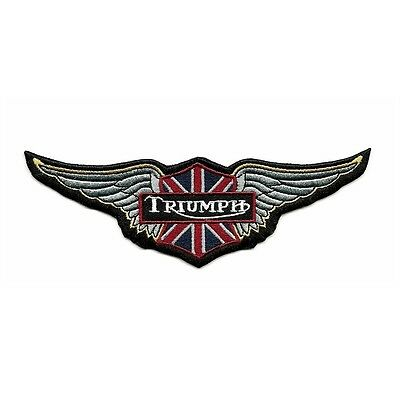 Ecusson TRIUMPH 15x5 cm ailes wings drapeau UK flag Patch Parche Toppa Aufnäher