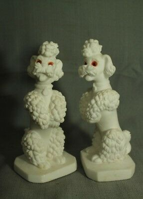 """pair vintage Bisque Italian white French Poodle dog figurines 7 1/4"""" . Italy"""