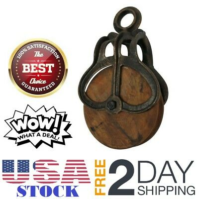 Vintage Antique Cast Iron Rustic Heavy Duty Wood Wheel Home Hanging Pulley M NEW