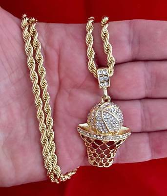 c9a16233b Basketball Iced Out CZ Micro Pendant Hip Hop Chain 14K GP Gold 30
