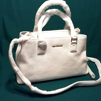 WHITE LEATHER Purse Vera Bradley EMMA Satchel Shoulder Crossbody Bag NEW