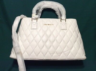 Quilted WHITE LEATHER Purse Vera Bradley EMMA Satchel Shoulder Crossbody Bag NEW