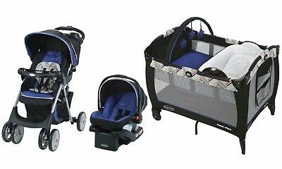 Graco Baby Stroller Car Seat Infant Playard Crib Combo Set New