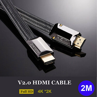 6ft / 2m V2.0 HDMI Cable High Speed 2160P 4K 3D for Xbox Bluray PS4 LED HDTV HDR