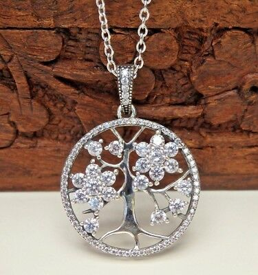 925 Sterling Silver Tree of Life & CZ Pendant Necklace