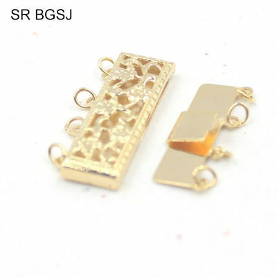8x24mm 14K Gold Filled Hollow Flower Rectangle Box Jewelry Clasps 4- Strand