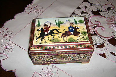 Beautiful Mosaic Look Footed Wood Box Multi-Color Horse & Rider Top Design