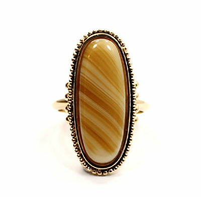 Stunning Tigers Eye Gold Tone Estate  Ring Size 8 1/2
