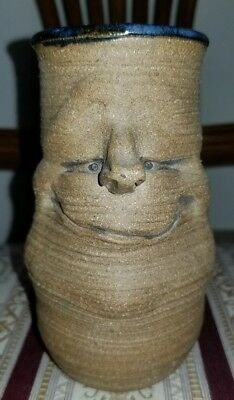 "Gretchen Larson Caricature Face Pottery, Rare and Unique ""mint condition"" glass"