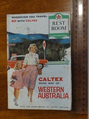1 x OLD RETRO ROAD MAP OF WESTERN AUSTRALIA TRAVEL GUIDE / MAP