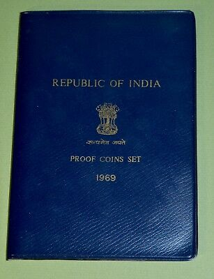1969 REPUBLIC OF INDIA 9-coin PROOF SET w COA, FOLDER & INFORMATION CARD