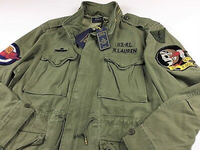 Polo Ralph Lauren Men Skull Patch M65 Military Army Field Jacket Olive L XL