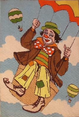 "vintage completed deco point Needlepoint clown in hot air balloon 22""x15"""